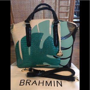 Brahmin Suri Turquoise Belem Palm Duxbury Satchel